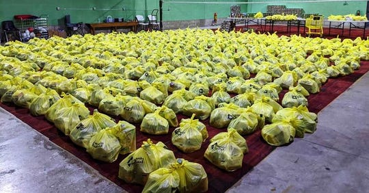 Some of the 1,210 turkeys plus fixings collected during the Salvation Army Vineland Corps Turkey Drive are ready for distribution to community members in need.