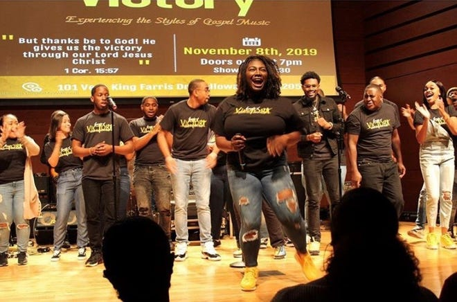 Danea Hayes of Bridgeton, (front center), a senior at Stockton University and president of the Highest Praise Gospel Choir at Stockton, will lead the group in a performance with Mariah Carey at the Borgata Casino.