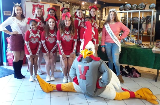 Isabella Freund, Miss Seashore Lines Outstanding Teen, Vineland High School cheerleaders, Rylee Howertown, Miss National United Cumberland County Jr. Teen, and Vineland High School's Rowdy Rooster made appearances at the Salvation Army Vineland Corps Turkey Drive kickoff party at the Cumberland County Habitat for Humanity ReStore in Vineland.