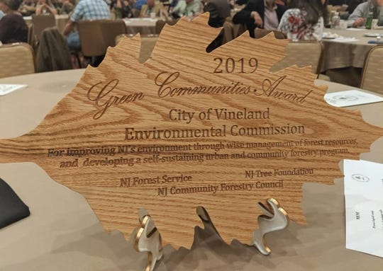 Vineland Environmental Commission was recognized with a 2019 Green Communities Achievement Award for working to improve the environment through wise management of its tree and forest resources, and the development of a self-sustaining local urban and community forestry program during the annual New Jersey Shade Tree Federation Conference in Atlantic City on Oct. 24.
