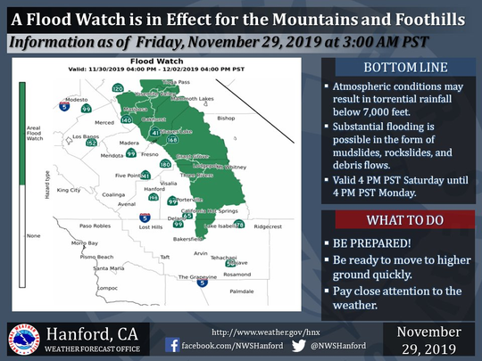 The National Weather Service has issued a flood watch for the southern Sierra Nevada mountains and foothills below 7,000 feet.