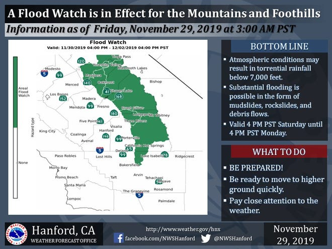 Flood Watch In Effect For Southern Sierra Nevada Mountains Foothills