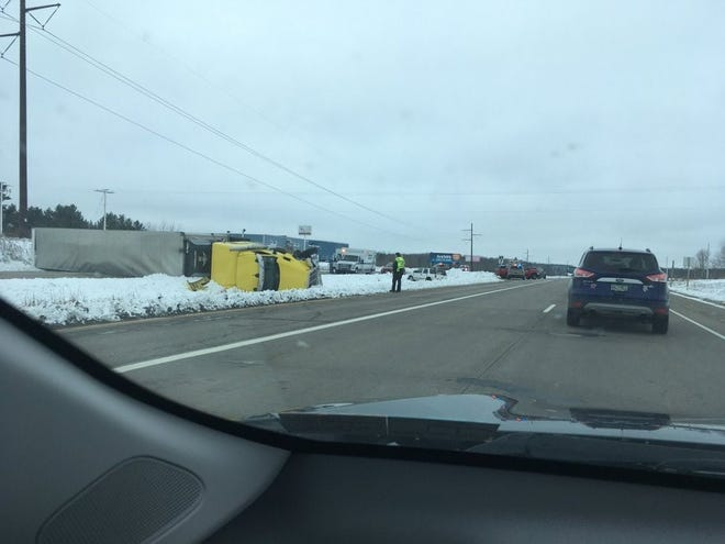 Wisconsin 29 East was closed Friday near Edgar after a crash involving a semitruck and an SUV. One person was injured.