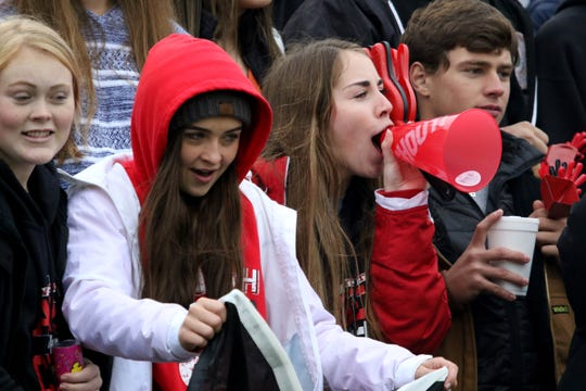 Wichita Falls High students cheer in the game against Rider Friday, Nov. 29, 2019, at Memorial Stadium.