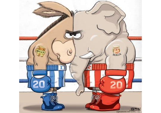 Impeachment fight staredown
