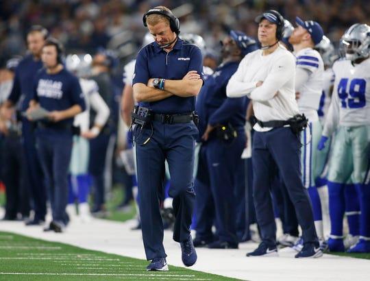 Cowboys head coach Jason Garrett reacts during the loss to the Bills.