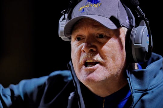 Wren head coach Jeff Tate reacts to an official during the first half. Wren hosted Ridge View in a Class AAAA football Upper State playoff game Friday, Nov. 29, 2019.