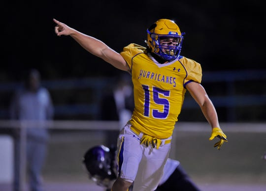 Wren's Tyler Cherry reacts after scoring a touchdown during the first half. Wren hosted Ridge View in a Class AAAA football Upper State playoff game Friday, Nov. 29, 2019.