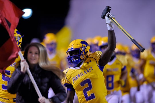 """Wren's Dez Frasier wields the """"Hammer"""" before the start of the game. Wren hosted Ridge View in a Class AAAA football Upper State playoff game Friday, Nov. 29, 2019."""