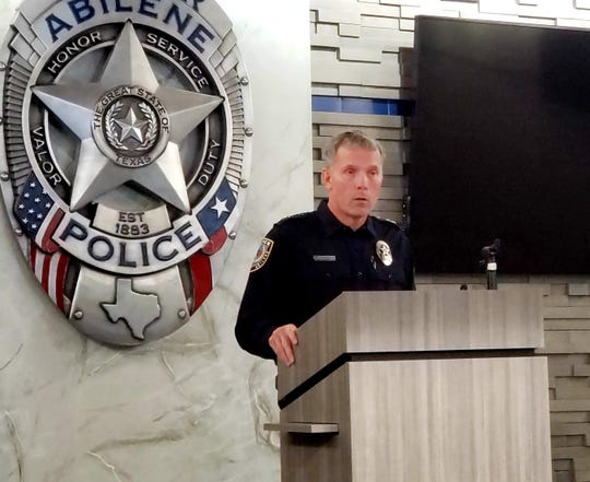 Abilene Police Chief Stan Standridge at a news conference Saturday morning. An Abilene police supervisor shot a Dyess Air Force Base airman Saturday morning after the man reportedly threatened other police officers with a rifle.