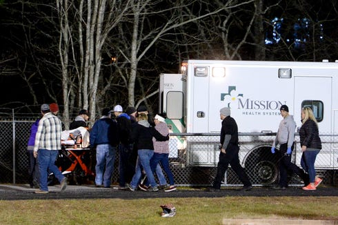 Swain County's Donnavin Groenewold is loaded into an ambulance at Mitchell High School after being hurt on the field during their NCHSAA third-round playoff game on Nov. 29, 2019.