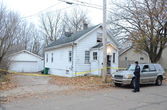 The house at 310 Cherry St. where Battle Creek Officer Jeff Johnson was shot and wounded.