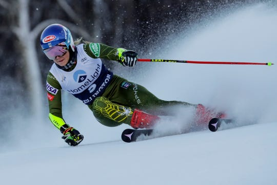 United States' Mikaela Shiffrin competes during an alpine ski, women's World Cup giant slalom in Killington, Vt., Saturday, Nov. 30, 2019.