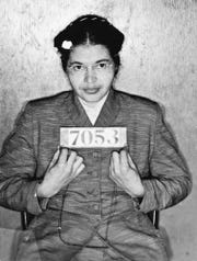 The image of Rosa Parks is seen in the  Feb. 22, 1956 mug shot photo, Friday July 23, 2004, in the basement of the Montgomery, Alabama, Sheriff's office.