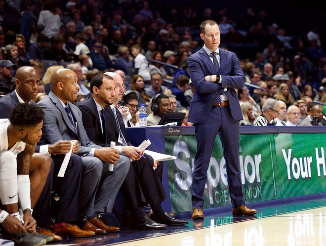 Nov. 30, 2019: Xavier Musketeers head coach Travis Steele watches his team during the second half against the Lipscomb Bisons at the Cintas Center. Xavier won 87-62.