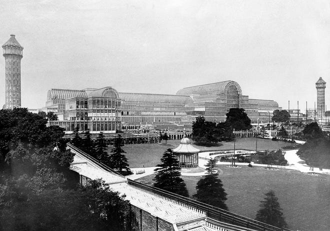 This is an undated photo showing the Crystal Palace built for the Great Exhibition of 1851, the first universal fair, in London, England. The palace, built entirely of cast iron and glass, was destroyed by a fire in 1936.