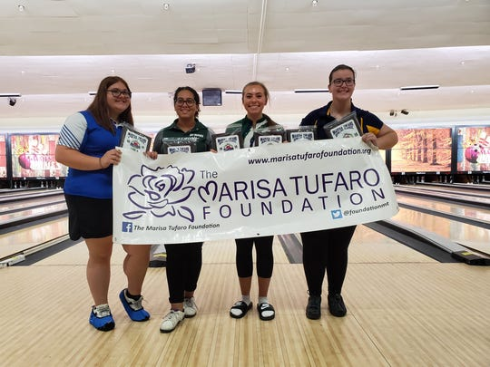 From left to right, Carteret's Angela Baginsky, East Brunswick's Katherine Attia, Colts Neck's Morgan Gitlitz and Colonia's Rebecca Hoff posted the tournament's high games and/or high series.
