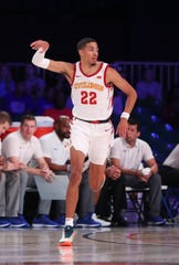 Nov 29, 2019; Nassau, BHS; Iowa State Cyclones guard Tyrese Haliburton (22) reacts after scoring during the first half against the Seton Hall Pirates at Imperial Arena. Mandatory Credit: Kevin Jairaj-USA TODAY Sports