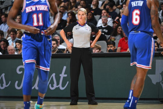 Referee Jenna Schroeder works the New York Knicks game against the San Antonio Spurs on Oct. 23, 2019 at the AT&T Center in San Antonio, Texas.