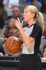 Referee Jenna Schroeder makes a call during the New York Knicks game against the San Antonio Spurs on Oct.  23, 2019 at AT&T Center in San Antonio, Texas.