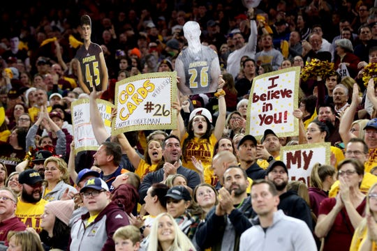 Davison fans cheer late in the fourth quarter during the Division 1 state championship football game between Brighton and Davison at Ford Field on Saturday, November 30, 2019.Davison won the Division 1 state championship over Brighton 35-25.