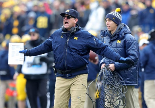 Michigan coach Jim Harbaugh during the first half vs. Ohio State, Saturday, Nov. 30, 2019, at Michigan Stadium.