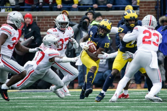 Michigan receiver Giles Jackson runs against Ohio State during the first half against Michigan at Michigan Stadium, Saturday, Nov. 30, 2019.