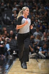 Referee Jenna Schroeder runs up court during the New York Knicks game against the San Antonio Spurs on Oct. 23, 2019, at AT&T Center in San Antonio, Texas.