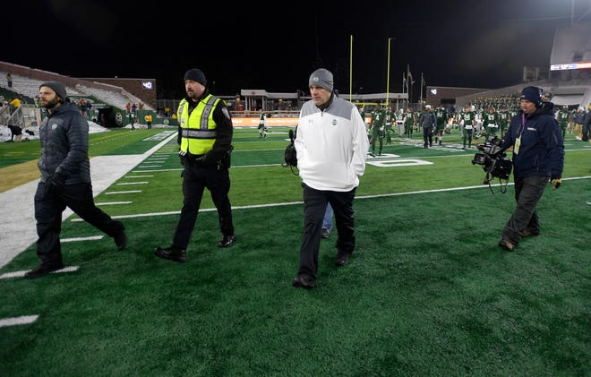 Colorado State Rams head coach Mike Bobo walks off the field after losing to Boise State at Canvas Stadium at Colorado State University in Fort Collins, Colo. on Friday, Nov. 29, 2019.