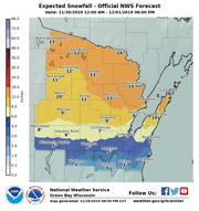 Expected snowfall for Saturday through Sunday for northeast and central Wisconsin.
