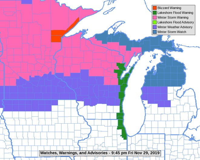 A winter storm warning, in pink, applies to the northern part of the state while a winter weather advisory is in effect for central counties.