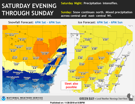 The second round of the rain and snow Saturday night through Sunday could bring over a foot of snow to the northernmost parts of the state.