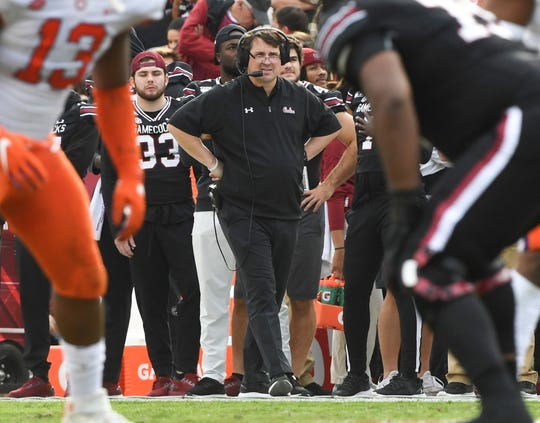 South Carolina Head Coach Will Muschamp watches from the sidelines during the first quarter at Williams-Brice Stadium in Columbia, South Carolina Saturday, November 30, 2019.