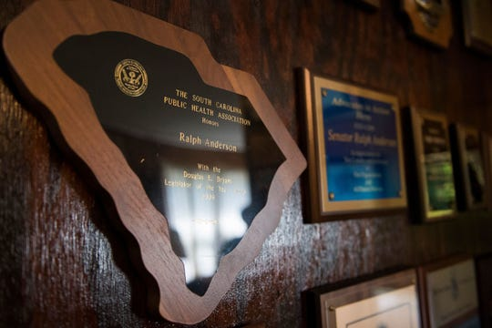An award from the South Carolina Public Health Association is displayed in Retired S.C. Sen. Ralph Anderson's home alongside several others on Wednesday, May 17, 2017.
