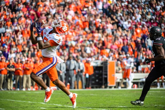 Clemson wide receiver Tee Higgins (5) makes a catch during their game at the Gamecocks' Williams-Brice Stadium in Columbia, Saturday, November 30, 2019.
