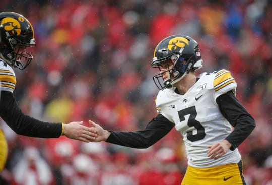 Iowa junior place kicker Keith Duncan celebrates after hitting a PAT in the first quarter against Nebraska during their Big 10 final season game on Friday, Nov. 29, 2019, at Memorial Stadium in Lincoln, Neb.