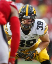 Iowa senior tight end Nate Wieting lines up across from the Nebraska defense on Friday, Nov. 29, 2019, at Memorial Stadium in Lincoln, Neb.