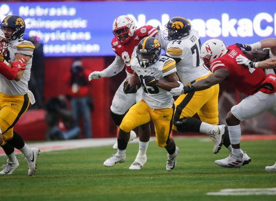 Tyler Goodson busted this 55-yard touchdown run early against Nebraska, part of a season-ending stretch in which he collected 69 carries as Iowa went 4-0 with him as the featured back.