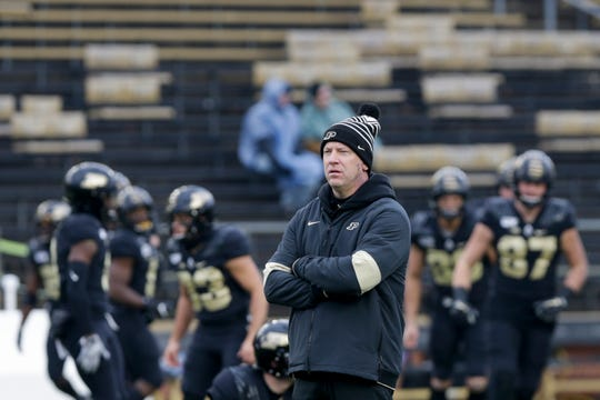Purdue head coach Jeff Brohm watches warmups prior to the start of a NCAA football game between the Purdue Boilermakers and the Indiana University Hoosiers, Saturday, Nov. 30, 2019 at Ross-Ade Stadium in West Lafayette, Ind.