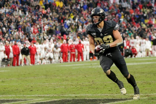 Purdue tight end Brycen Hopkins (89) runs the ball into the end zone to score during the first overtime period of a NCAA football game, Saturday, Nov. 30, 2019 at Ross-Ade Stadium in West Lafayette.