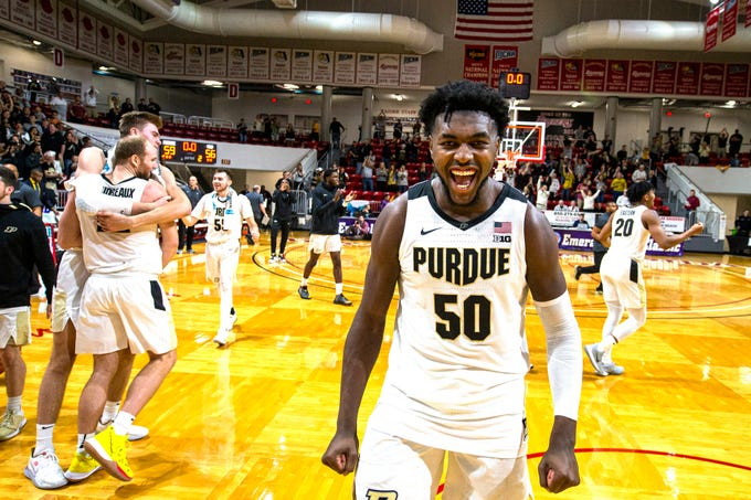 Purdue forward Trevion Williams (50) celebrates the team's 59-56 win over Virginia Commonwealth in an NCAA college basketball game at the Emerald Coast Classic in Niceville, Fla., early Saturday, Nov. 30, 2019. (AP Photo/Mark Wallheiser)
