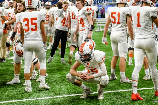 Brighton's John Aurandt reacts on the sideline late during the fourth quarter of the Division 1 state football championship on Saturday, Nov. 30, 2019, at Ford Field in Detroit. Davison won 35-25.