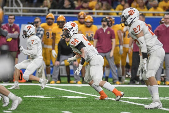 Brighton's Cole Riddle reacts on a play during the second quarter of the Division 1 state football championship on Saturday, Nov. 30, 2019, at Ford Field in Detroit.