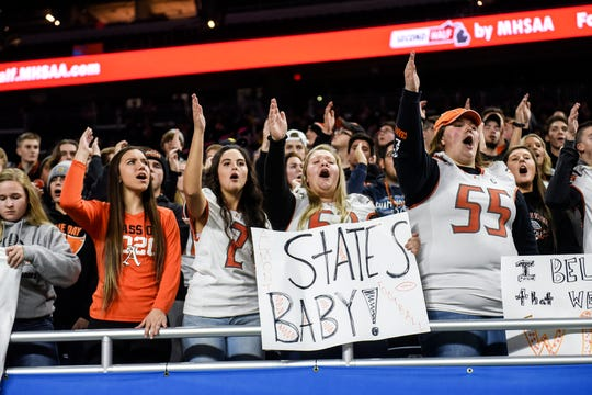 Almont fans cheer during the second quarter of the Division 5 state football championship on Saturday, Nov. 30, 2019, at Ford Field in Detroit.