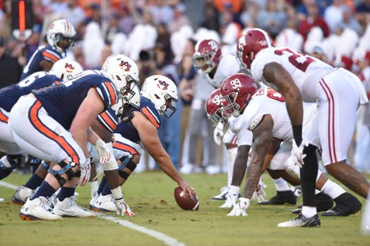 A view of the line of scrimmage during the the Iron Bowl between Auburn and Alabama at  Jordan-Hare Stadium on Nov. 30, 2019.