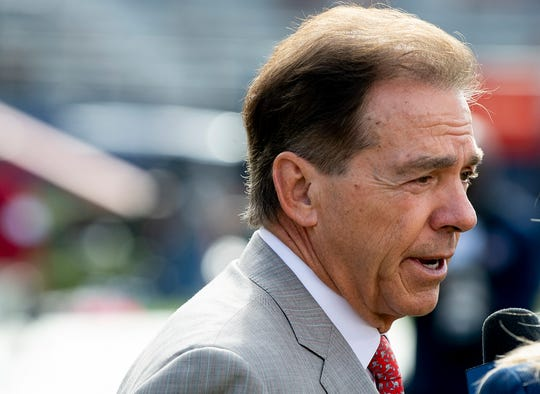 Alabama head coach Nick Saban pauses to after arriving for the Iron Bowl at Jordan-Hare Stadium in Auburn, Ala., on Saturday, November 30, 2019.