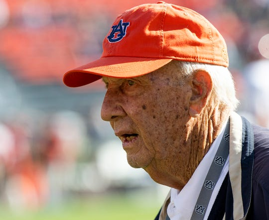 Former Auburn coach Pat Dye before the Iron Bowl at Jordan-Hare Stadium in Auburn, Ala., on Saturday, November 30, 2019.