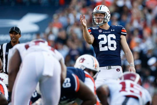 Nov 30, 2019; Auburn, AL, USA; Anders Carlson, during the second quarter at Jordan-Hare Stadium. Mandatory Credit: John Reed-USA TODAY Sports