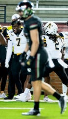 Appalachian State defensive back Josh Thomas (7) celebrates after Appalachian State intercepted a Troy pass late in second half action on the Troy campus in Troy, Ala., on Friday, November 29, 2019.