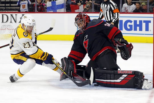 The Predators' Rocco Grimaldi slips the puck between the legs of Carolina Hurricanes goaltender Petr Mrazek for a goal during the first period in Raleigh, N.C., Friday, Nov. 29, 2019. The Predators won, 3-0.